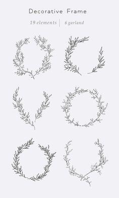 Lettering Fonts Discover Hand drawn floral line clip art Decorative frame Fine art clipart Individual elements Art Clipart, Kranz Tattoo, Framed Tattoo, Tattoo Frame, Wreath Tattoo, Create Invitations, Wedding Invitations, Wedding Logos, Clip Art