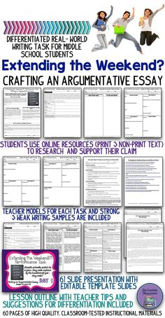This Common Core aligned resource is the perfect way to teach your students how to compose a multi-paragraph argumentative composition. It will allow your students to take part in a real world project that includes the use of technology and several resear