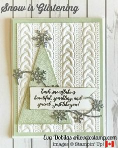 Cozy Snow is Glistening Card - I Love to Stamp - Frohes neues Jahr Christmas Cards 2018, Stamped Christmas Cards, Christmas Paper Crafts, Homemade Christmas Cards, Xmas Cards, Homemade Cards, Holiday Cards, Cards Diy, Snowflake Cards