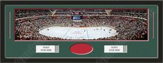 One framed large Minnesota Wild stadium panoramic with openings for one or two ticket stubs* and one or two 4 x 6 inch personal photos**, double matted in team colors to 39 x 13.5 in.  The lines show the bottom mat color. $179.99   @ ArtandMore.com