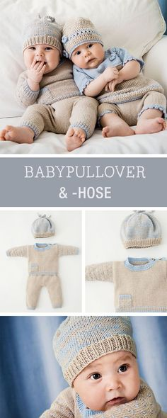 Baby Knitting Patterns Pullover pattern by Lana Grossa: Set of baby sweaters, baby pants and baby hat / k … Knitted Hats Kids, Kids Hats, Crochet Hats, Baby Knitting Patterns, Loom Knitting, Free Knitting, Baby Set, Wooly Hats, Baby Pullover