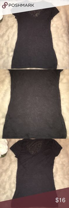 * Express Dark Grey v-neck T-shirt XS Express dark gray v-neck sheer floral design T-shirt. Gently used. Size extra small   Check out my closet for bundles!! Express Tops Tees - Short Sleeve