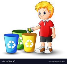 Boy putting aluminum in recycling bin Royalty Free Vector Recycling For Kids, Recycling Bins, Recycle Bin Icon, School Clipart, Classroom Walls, Sistema Solar, Alphabet And Numbers, Cartoon Kids, Cartoon Images