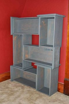 Dresser drawers reused as a freeform bookcase