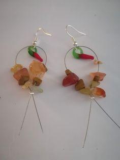 Χειροποίητα σκουλαρίκια κρεμαστά με μουράνο πιπερίτσες και ημιπολύτιμες  πέτρες από χαλαζία φράουλα  545b25d5903