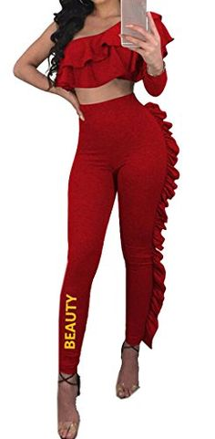 2cb25e2862 XiaoTianXin-women clothes XTX Womens Sports 2Pcs Workout Club Outfits One  Shoulder Ruffle Crop Top Leggings Red XXXS · Women s BlazersTops ...