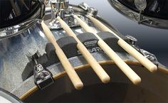 StickARK bass drum mounted drumstick holder by Maxonix. I just ordered a pair of these for my mighty Good Fibes. Drums Studio, Drum Accessories, Drum Room, Drum Music, Drummer Boy, How To Play Drums, Drum Kits, Music Stuff, Bass Drum