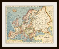 1883 EUROPE Antique Map