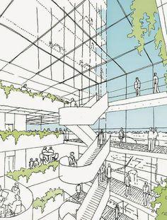 Winner of Parramatta Square Design Competition Announced,Courtesy of Parramatta City Council Architecture Graphics, Architecture Drawings, Architecture Design, Architecture Student, Classical Architecture, Environment Sketch, Conceptual Sketches, Architecture Presentation Board, Architect Drawing