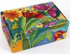 Helen Heins Peterson, creator of handcrafted Painted Furniture, Painted Boxes, Painted Bowls, Modern Whimsical Folk Art and Primitive Woodworks. American Craft Council Member and Exhibitor Wooden Box Crafts, Painted Wooden Boxes, Hand Painted Furniture, Tole Painting, Diy Painting, Painting On Wood, Art Populaire, Decoupage Box, Paperclay