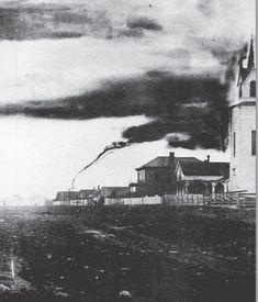 Photograph of an April 26, 1884 tornado near Garnett, Kansas (via Kansas State Historical Society)