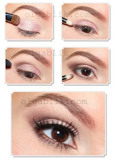 Everyday eye makeup, light pink and dark brown