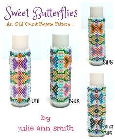 SWEET BUTTERFLIES Lip Balm Cover Pattern | Bead-Patterns.com