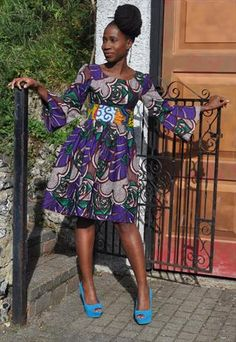 African print purple flared sleeve dress