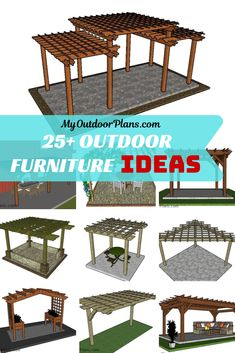 Simple Pergola Plans Ideas There are several points that can easily finally Free Pergola Plans, Diy Pergola, Pergola Ideas, Modern Pergola, Planter Beds, Attached Pergola, Building A Pergola, Corner Pergola, Outdoor Furniture Sets