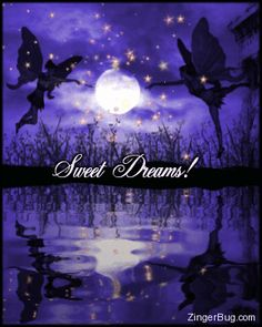 Sweet Dreams 2 Fairies With Moon Glitter Graphic Comment