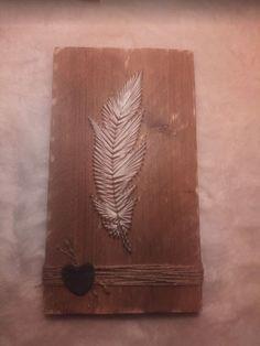 "String-art ""Feather"" van steigerhout | Karin's Deco Atelier"