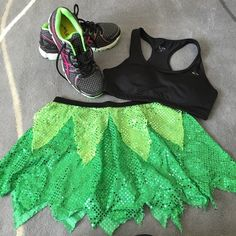 Two tone green sequined running skirt. M Competing in a fun run or a marathon? You can dress like your favorite princess or fairy in this sequined tricot skirt. Topped with a wide elastic waistband so it doesn't shift with movement. Good used condition (worn and washed once). Get it for much less than retail. Size M. Sparkle Skirts Skirts