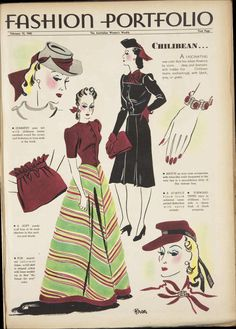 "1940 - Australian Women's Weekly fashion illustration, 1940s fashion for the colour ""chilibean""!"