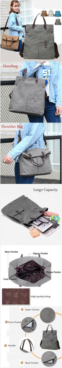 [$ 17.89]   Women Canvas Dual-use Handbag Rucksack Shoulder Bag Shopping Bag Satchel Bag