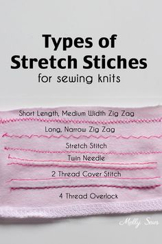 Which stitches should you use for sewing knits? Overview and video of stitches to use on a regular sewing machine, overlocker or serger, and cover stitch.