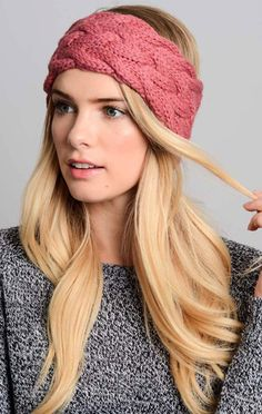 Lola Braided Knit Headband - Rose