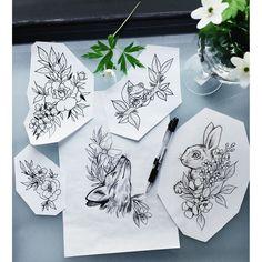 34 Ideas Nature Tattoo Sleeve Traditional For 2019 Bunny Tattoos, Rabbit Tattoos, Animal Tattoos, Cute Tattoos, Beautiful Tattoos, Flower Tattoos, Tatoos, Nature Tattoo Sleeve, Nature Tattoos