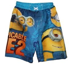 Trunks also have sun protection. Trunks have Minion characters on them. Size is little boy's to help prevent sunburns. Minion Characters, Despicable Me 2 Minions, Boys Swim Trunks, Boy Character, Gifts For Boys, Swim Shorts, Things To Sell, Sun Protection, Board