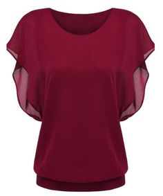 GET $50 NOW | Join RoseGal: Get YOUR $50 NOW!http://m.rosegal.com/t-shirts/simple-style-women-s-bat-sleeve-round-neck-pure-color-chiffon-spliced-t-shirt-475873.html?seid=8db9v5bjo1okb6cdae2okvmp41rg475873