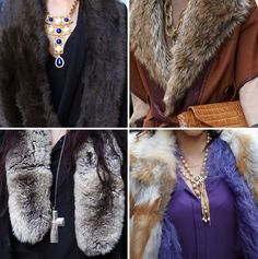 Statement necklaces with fur