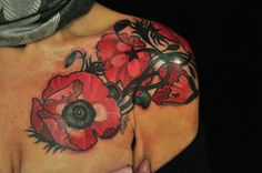 Poppy tattoo by Jason Vaughn in Chicago, Illinois.
