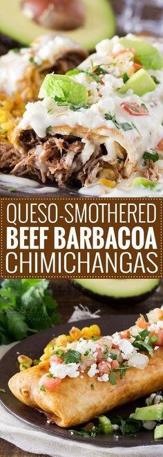 Queso Smothered Beef Barbacoa Chimichangas |Spicy, slow cooked beef barbacoa stuffed into a tortilla and fried to crunchy perfection, smothered in a velvety smooth white queso... perfect chimichangas! | http://thechunkychef.com