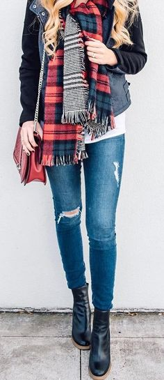 #fall #outfits Black Leather Coat // Plaid Scarf // Ripped Jeans // Leather Booties // Burgundy Shoulder Bag