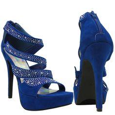 Womens Dress Platform High Heel Sandals Strappy Rhinestone Embellishments Blue 5.5-10 fashion style outfit