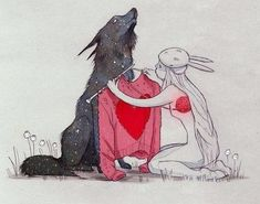 fear, girl, heart, knitting, mask, rabbit, red, soul, suffering, sweater, wolf