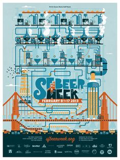 Poster for SF Beer Week 2013 - A beer brewing machine to celebrate the major expansion of Craft Brewing as a national industry!