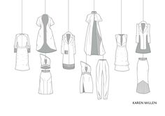 Karen Millen flat drawings by Hannah Brook