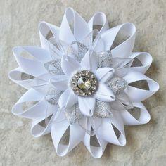 White Flowers White Flower Hair Clip White Flower Clip White Corsage Pin White and Silver Corsage Flower Prom Corsage Wedding Corsage