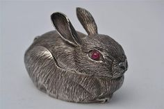 ORIGINAL CARTIER STERLING SILVER & RUBY EASTER BUNNY / RABBIT BOX MARKED ITALY