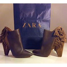 ZARA Leather Fringe Boots  Beautiful ZARA olive green/gray fringe boots. Shoes are stamped a size 40 eur which is a Size 9,but In my opinion they fit more like a size 8.5 (measurements from top of toe to bottom heel is 10 inches). Minor wear & in used PreOwned condition, please refer to pics for wear!! I received compliments every single time I wore these boots, so I'm still not sure if I want to sell them because they are unique and one of a kind. Price is firm! Zara Shoes Ankle Boots…