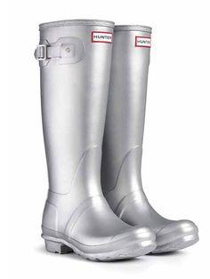 look like astronauts, huh?  but cute! Original Metallic Rain Boots | Hunter Boot Ltd