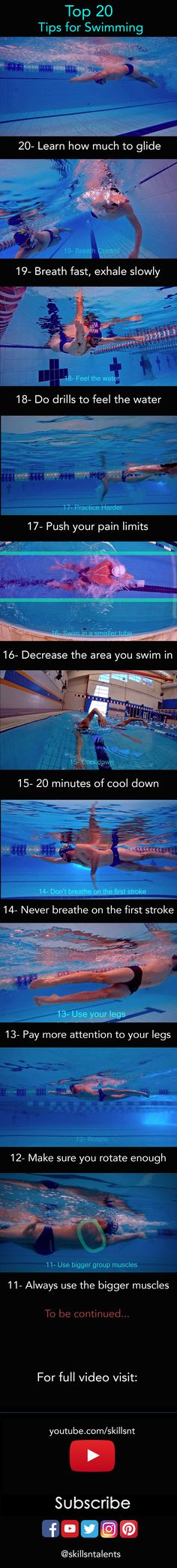 Top 20 tips to swim faster. Part 1. Visit the link for full video!