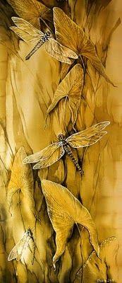 Maria Kamenskaya , illustrator Silk Painting, Painting & Drawing, Dragonfly Art, Wow Art, Mellow Yellow, Mustard Yellow, Shades Of Yellow, Oeuvre D'art, Watercolor Art