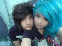 blue scene hair. couples