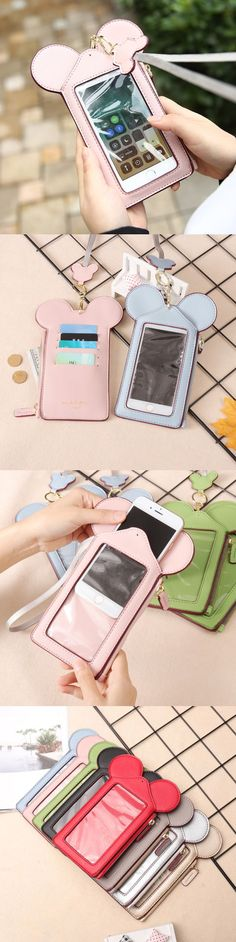 【US$9.99 ~ 10.99】Women Touch Screen Cute Animal Shape Card Holder 4.7inch/5.5inch Phone Bag Wallet Purse Neck Bag
