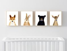 Baby animals : fox, deer, bear, rabbit  Lets make your little ones room warm and enjoyable!  This baby animal art prints collection features a set of 4 prints from my watercolor art collection. If, however, youd like to swap any of them for a different piece in my shop, please give me a notice about which baby animals you want to swap it.  Materials: Printed on beautiful high quality, archival and acid free velvet fine art paper using professional Epson Ultra Chrome inks. Prints will be…