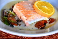 Baked Salmon with Coconut Broth - the recipe suggests serving this with brown rice, but that can be left out entirely or substitute cauliflower rice.