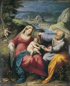 """""""Lección de vida doméstica.Enseñe Nazaret lo que es la familia,su comunión de amor,su sencilla y austera belleza,su carácter sagrado e inviolable;enseñe lo dulce e insustituible que es su pedagogía;enseñe lo fundamental e insuperable de su sociología."""" Papa Pablo VI, Discurso en Nazaret, 5 enero 1964 / Pope Paul VI// Holy Family / Sainte Famille / Sagrada Familia // 1576-1600 // Jacopo Zucchi // Musée des Augustins"""
