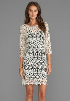 ALEXIS Soleil Tunic Dress With 3/4 Sleeve in Metallic Taupe - Cocktail