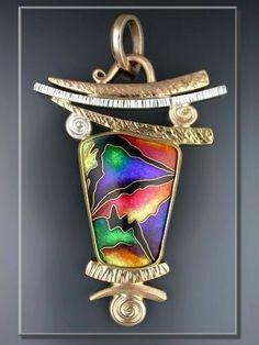 "Sharon Scalise ""Facets Of Universal Color II"" - ""Veil Nebula"" - 2003 Cloisonne Enamel Pendant"